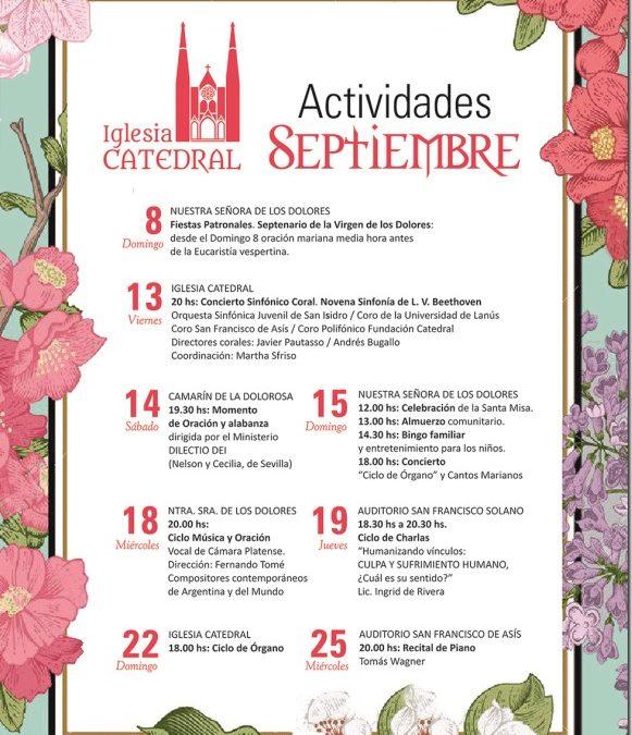 Actividades durante el mes de septiembre en la Iglesia Catedral